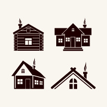 log cabin, house, smoke, chimney, home, icon
