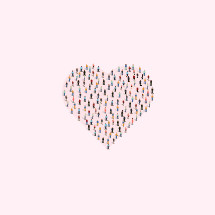 heart shape out of people