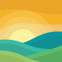 landscape at sunrise illustration