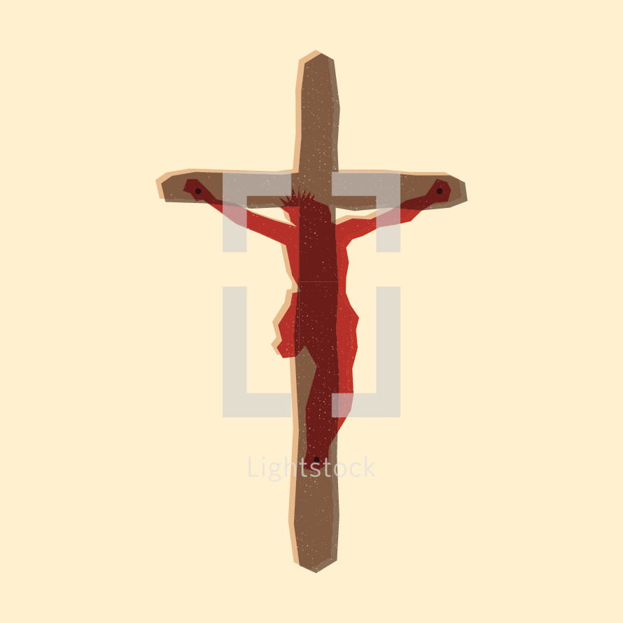 Modern illustration of Jesus nailed to the cross.