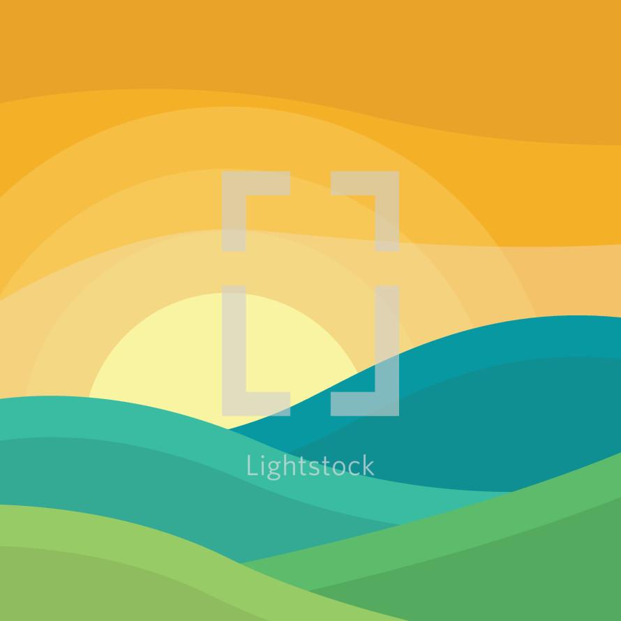 landscape at sunrise illustration