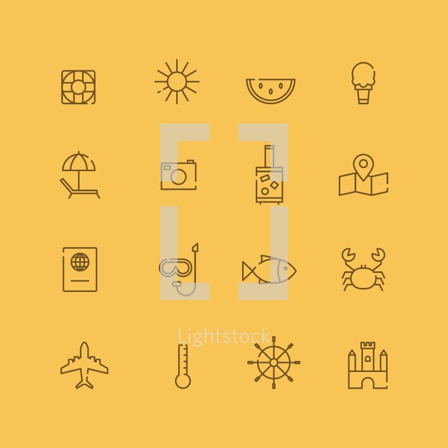 summer icons set.