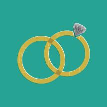 wedding band and engagement ring illustration.