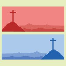 Red and Blue Illustrations of Cross on the Hill