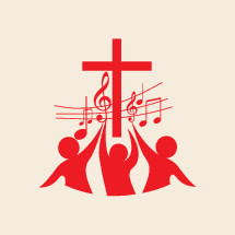 cross, music, music notes, song, choir, people, red