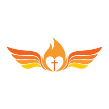 tongue of fire, flame, heart, missions, wings, Bible, logo, orange, icon