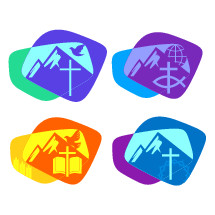 mountains with cross logos