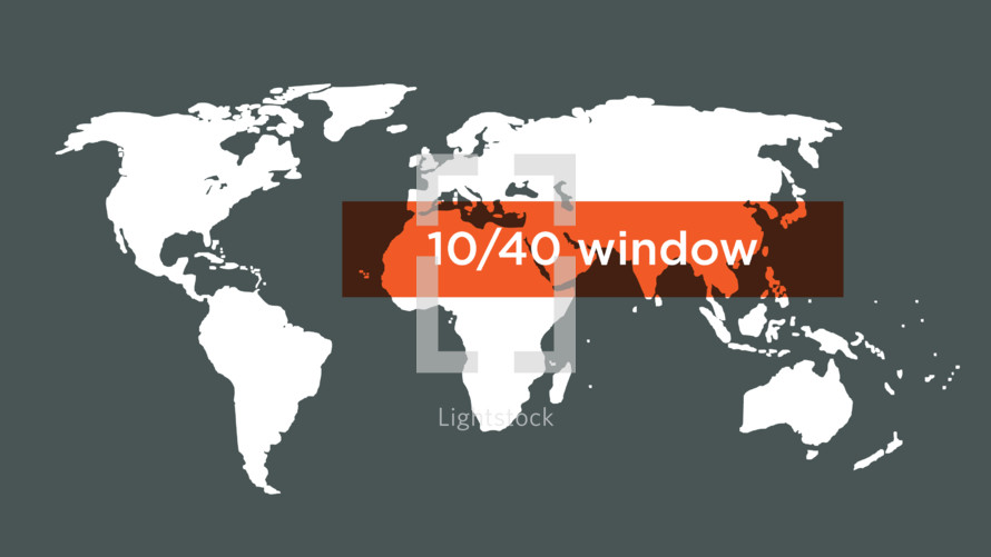 world map with 10/40 window