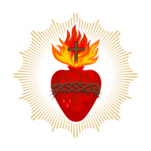 Sacred Heart of Jesus Christ, Lord and Savior of the world. Cross in the flame of the Holy Spirit, crown of thorns and holy blood.