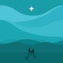 Star of Bethlehem over nativity