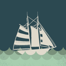 illustration of sailboat in water.
