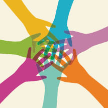 illustration of colorful hands coming together.