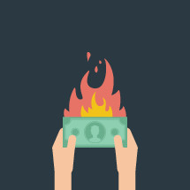illustration of man holding burning money.