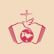 globe, holy spirit, dove, cross, flame, Pentecost
