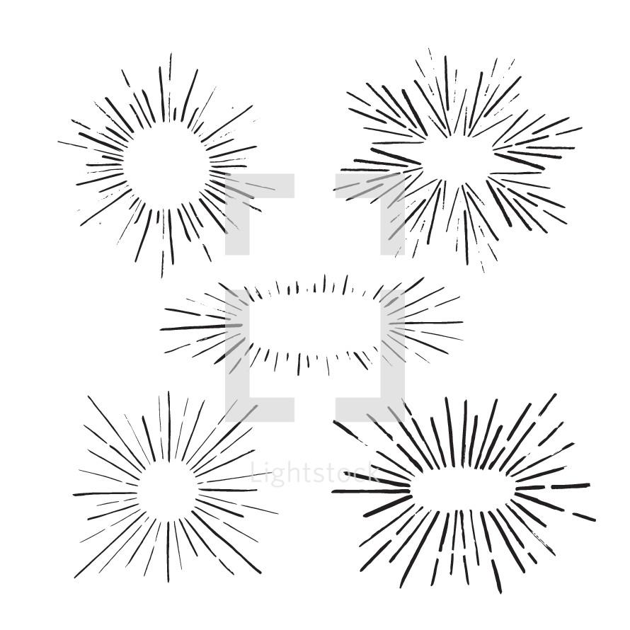 hand drawn sunburst illustrations.