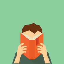 vector illustration of man reading a book.