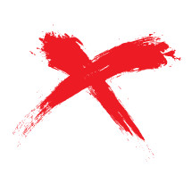 a red X