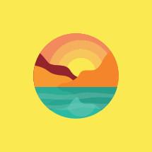 ocean sunset badge