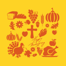 Happy Thanksgiving, icons, icon set, words, turkey, pumpkin, cross, harvest, give thanks, fall, autumn, leaf, acorn, grapes, bread, wheat, grains, apple, flower, mums, praying hands, Thanksgiving