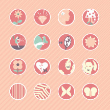 Icons set of flowers, stripes, zebra print, butterfly, girl, woman, icon, moth, heart, broken heart, dancing, bird, broken mirror, sun, diamond, smelly feet, feet, lost slipper, bird on a finger