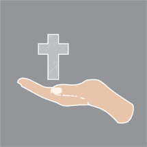 cupped hand holding a cross