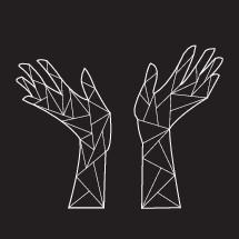 geometric raised hands