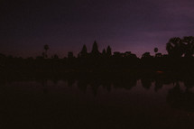 silhouette of a temple in Cambodia