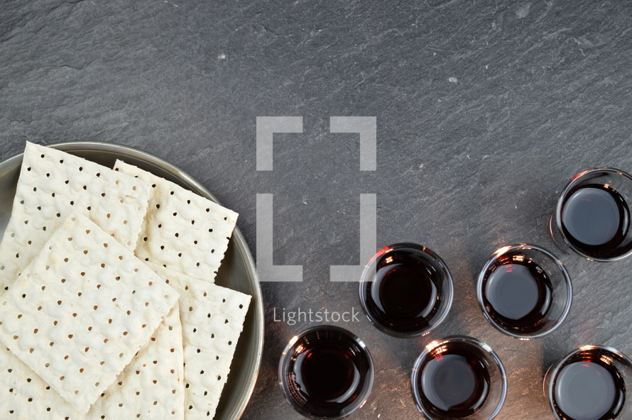 unleavened bread and communion wine cups