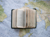 Bible on a map
