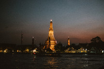 temple tower at night in Thailand
