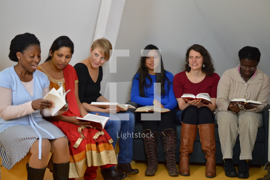 a women's Bible study group discussing scripture