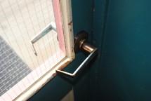 window and door handle on a door
