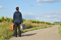 On the road with old suitcases