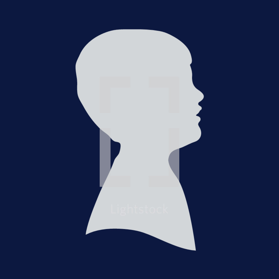 side profile silhouette of a boy