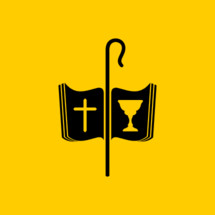 Christian symbols. The cross of Jesus, the Bible, the cup of communion and the staff of the shepherd.