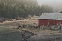 A red barn on a farm.