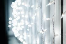 hanging strands of Christmas lights