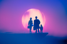 family figurines standing holding luggage in front of a sun at sunrise