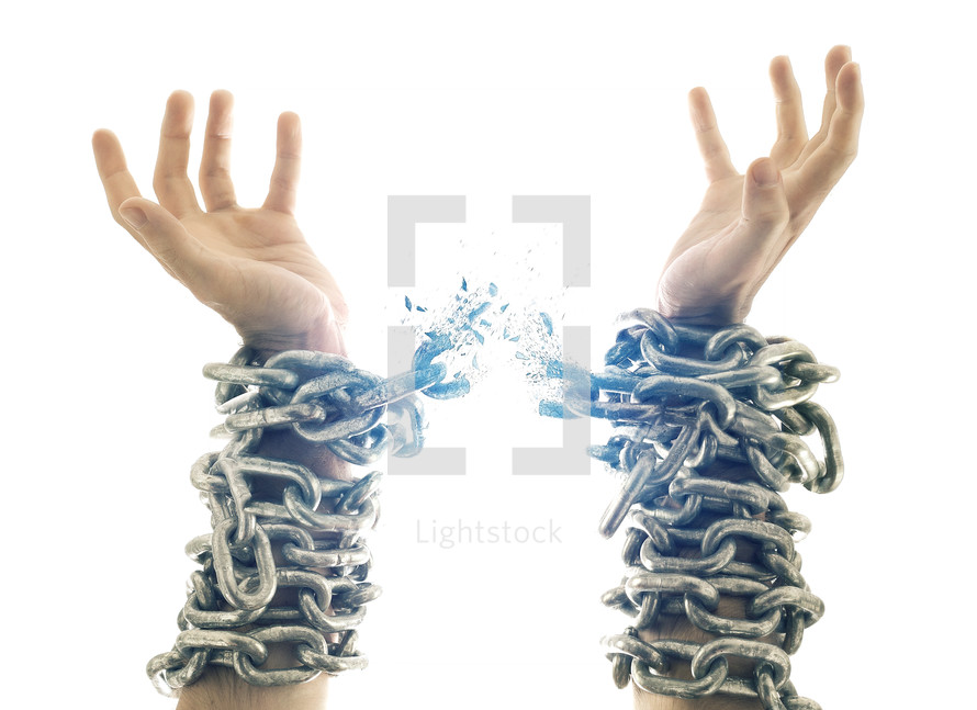 breaking the chain on shackled and chained arms
