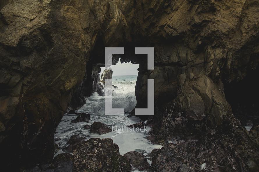 ocean water in a sea cave