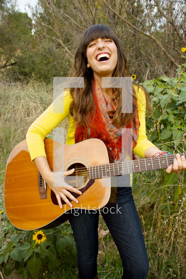 woman and her guitar