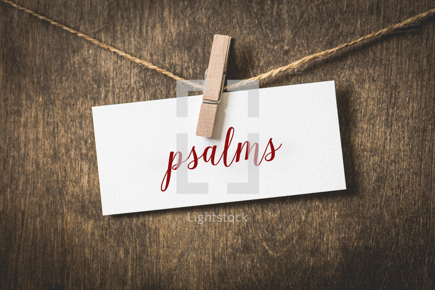 word Psalms hanging on a clothesline