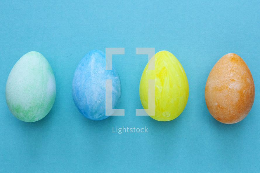 Easter eggs on blue