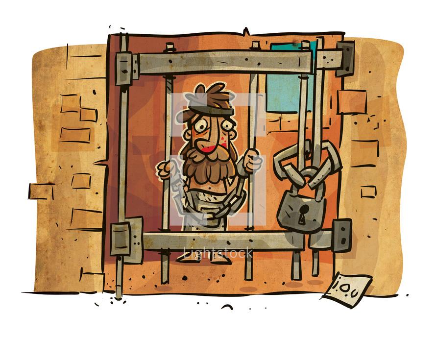 unmerciful, Lazarus, prison, prison cell, man, biblical scene