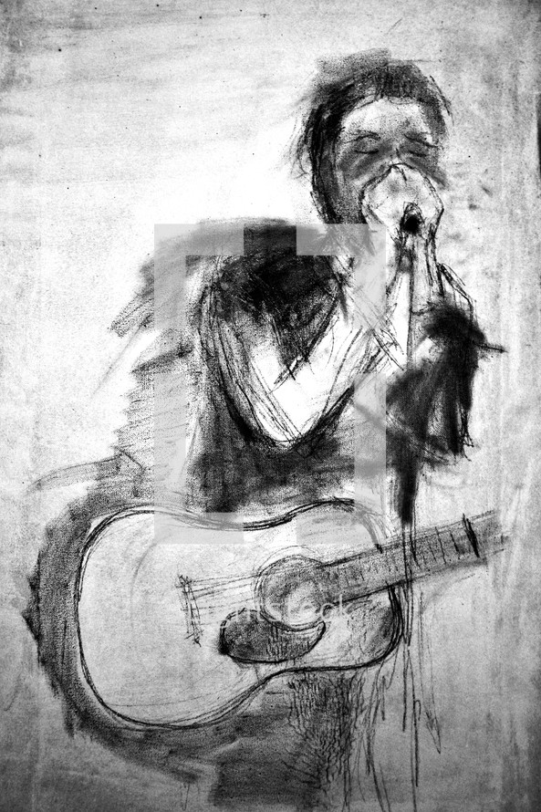sketch of a musician with a guitar and harmonica
