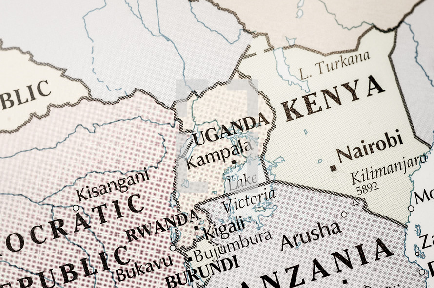 map of Uganda and Kenya