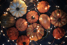 pumpkins and fairy lights
