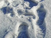 shoe prints in the snow