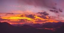 vibrant orange and purple sky at sunset