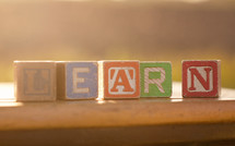 "Block letters spelling out the word ""Learn"""